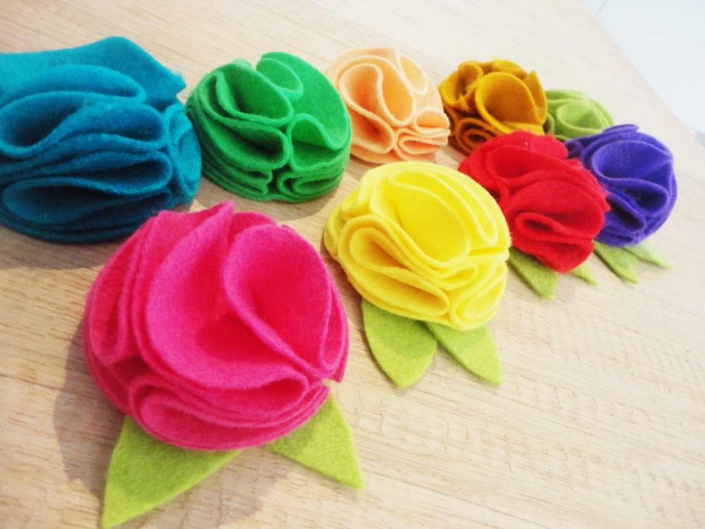 Hair Flower Clip ~ Felt Rosette ~ Medium